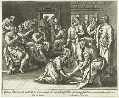 Foot Washing Of Peter, Adriaen Collaert Art Print by Adriaen Collaert