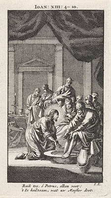 Foot Washing Of Peter, Jan Luyken Art Print by Jan Luyken And Wed. Pieter Arentsz & Cornelis Van Der Sys (ii)