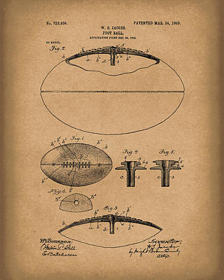 Sporting Goods Drawing - Football 1903 Jacobs Patent Art Brown by Prior Art Design