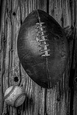 Leather Photograph - Football And Baseball by Garry Gay
