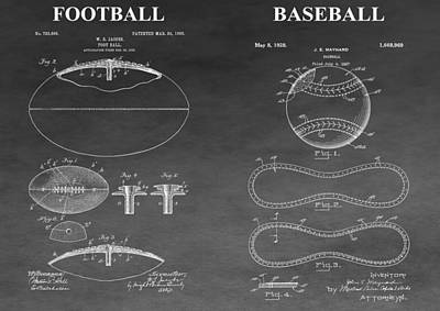 Mixed Media - Football And Baseball Patent by Dan Sproul