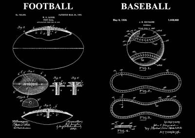 Player Drawing - Football Baseball Patent Drawing by Dan Sproul
