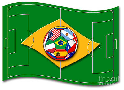 football field looks like Brazil flag with ball Art Print by Michal Boubin