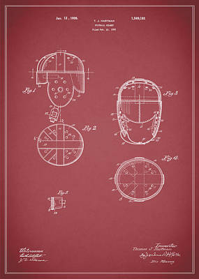 Football Helmet 1922 - Red Art Print by Mark Rogan