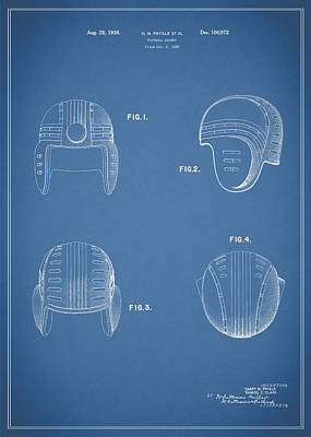 Football Helmet 1935 - Blue Art Print by Mark Rogan