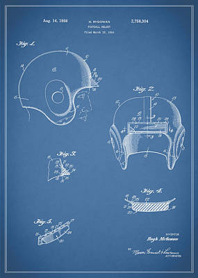 Football Helmet 1954 - Blue Art Print by Mark Rogan