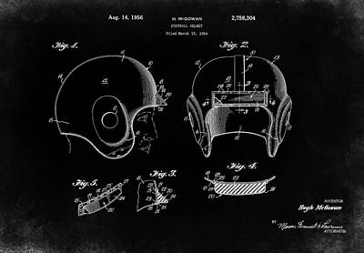 Football Helmet 1956 - Black Art Print by Mark Rogan