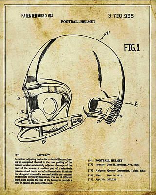 Mixed Media - Football Helmet Patent Blueprint Drawing Tan by Tony Rubino