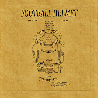 Photograph - Football Helmet Patent 1 by Andrew Fare