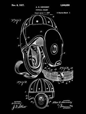 Football Helmet Patent 1927 - Black Art Print by Stephen Younts