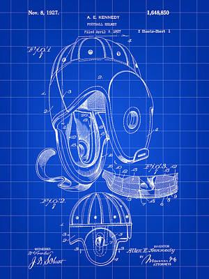 Football Helmet Patent 1927 - Blue Art Print by Stephen Younts