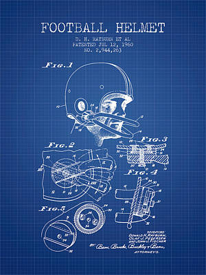 Football Helmet Patent From 1960 - Blueprint Art Print by Aged Pixel