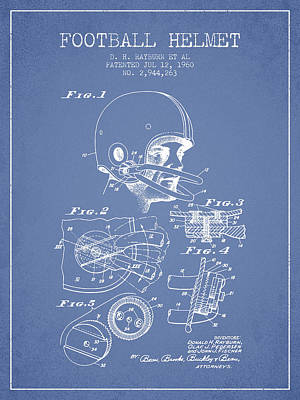Sports Royalty-Free and Rights-Managed Images - Football Helmet Patent from 1960 - Light Blue by Aged Pixel