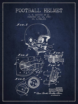 Player Digital Art - Football Helmet Patent From 1960 - Navy Blue by Aged Pixel