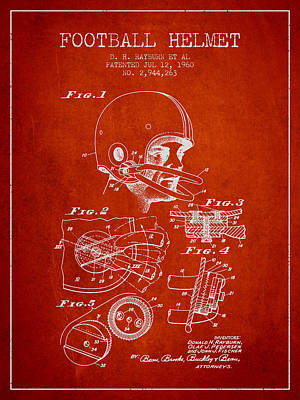 Football Digital Art - Football Helmet Patent from 1960 - Red by Aged Pixel