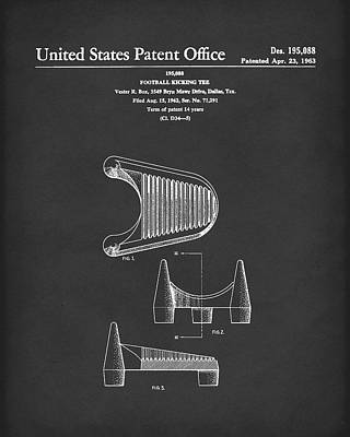 Drawing - Football Kicking Tee 1963 Patent Art Black by Prior Art Design