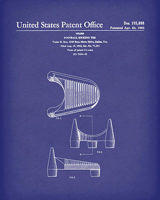 Drawing - Football Kicking Tee 1963 Patent Art Blue by Prior Art Design