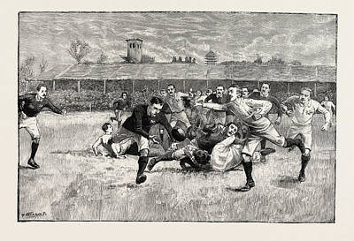 Athletic Drawing - Football Match Between England And Scotland In The Athletic by English School