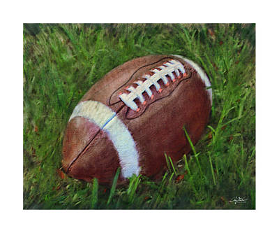 Football On Field Art Print