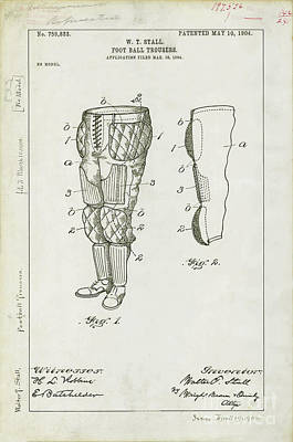 Dallas Drawing - Football Pants Patent Drawing by Jon Neidert