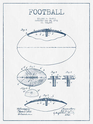 American Football Drawings Drawing - Football Patent Drawing From 1903 - Blue Ink by Aged Pixel