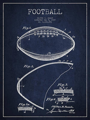 Sports Royalty-Free and Rights-Managed Images - Football Patent Drawing from 1939 by Aged Pixel