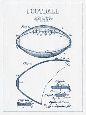 American Football Drawings Drawing - Football Patent Drawing From 1939 - Blue Ink by Aged Pixel