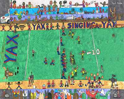 Drawing - Football by Paul Fields