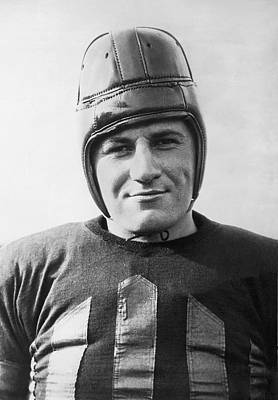 Sports Photograph - Football Player Portrait by Underwood Archives