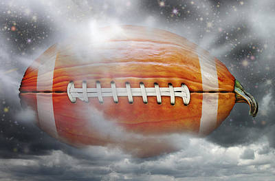 Digital Art - Football Pumpkin by James Larkin