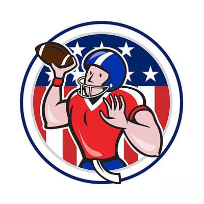 Throwing Digital Art - Football Quarterback Throwing Circle Cartoon by Aloysius Patrimonio