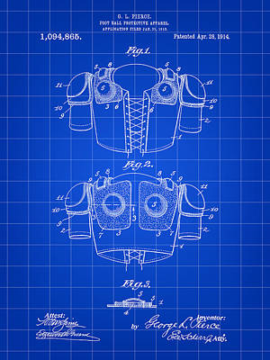 Football Shoulder Pads Patent 1913 - Blue Art Print by Stephen Younts