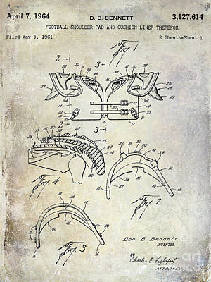 New Orleans Saints Drawings Photograph - Football Shoulder Pads Patent by Jon Neidert