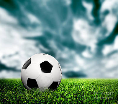 Championship Photograph - Football Soccer A Leather Ball On Grass by Michal Bednarek