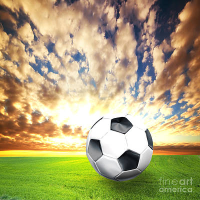 Kick Photograph - Football Soccer Ball On Green Grass by Michal Bednarek