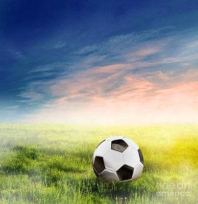Football Soccer Ball On Green Grass Art Print