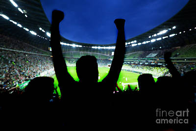 Spectators Photograph - Football Soccer Fans Support Their Team And Celebrate by Michal Bednarek