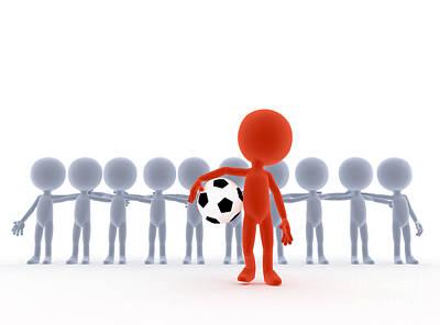 Football Soccer Team Leader With Ball Art Print