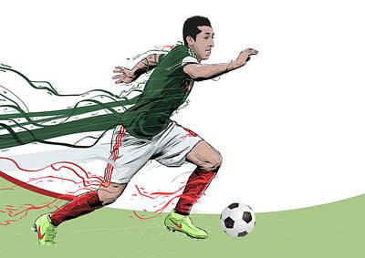 Soccer Digital Art - Football Stars Hector Herrera Mexico by Akyanyme