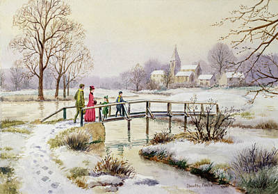 Christmas Cards Painting - Footbridge In Winter by Stanley Cooke