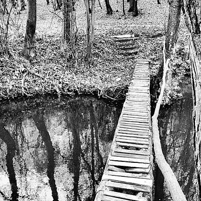 Iphone 4s Photograph - Footbridge #iphone #4s #bw  #cz #nature by Jan Kratochvil