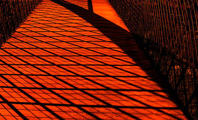 Photograph - Footbridge Patterns By Streetlights by Gary Slawsky