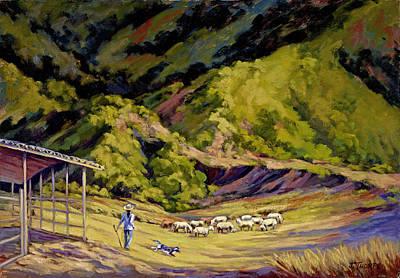 Foothill Sheepherder Art Print by Jane Thorpe