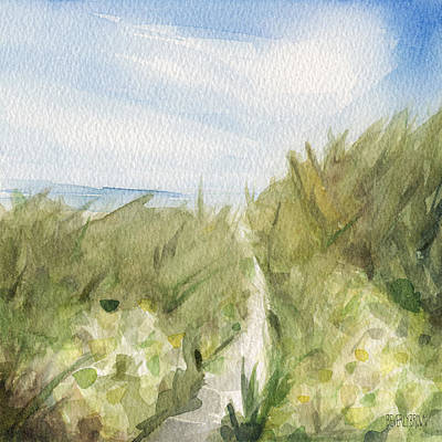 Footpath Through Dunes Cape Cod Beach Painting Art Print by Beverly Brown