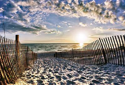 Footprints In Sand Beach Sunset Art Print