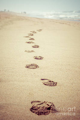 Huntington Beach California Photograph - Footprints In Sand Retro Picture by Paul Velgos