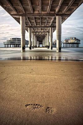 Scheveningen Pier Art Photograph - Footprints In The Sand by Dave Bowman