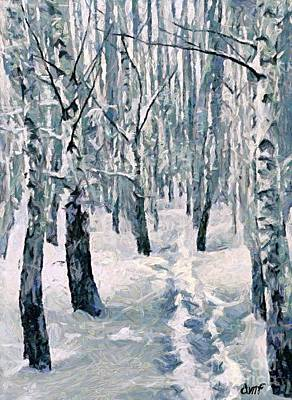 Winter Painting - Footprints In The Snow by Dragica  Micki Fortuna
