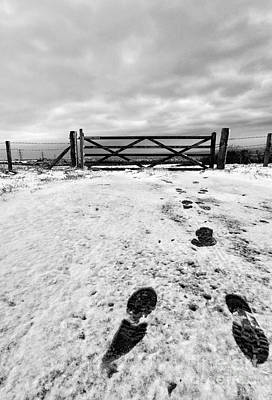 Drifting Snow Photograph - Footprints In The Snow by John Farnan