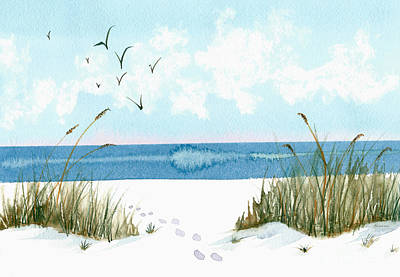 Painting - Footprints On The Beach In Blue And Green by Nan Wright